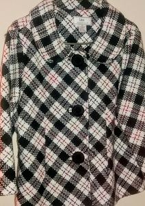 Lisa International  Jackets & Blazers - Plaid Swing Coat w/ Oversized Covered Buttons