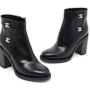CHANEL Black Leather Booties Side Zip