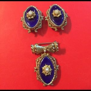 Jewelry - Vintage Enameled Earring and Brooch Set