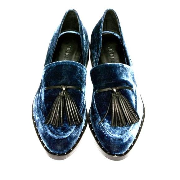 fad62e0e1a5 2DIE4 FREDA SALVADOR Blue Velvet Chance Loafers