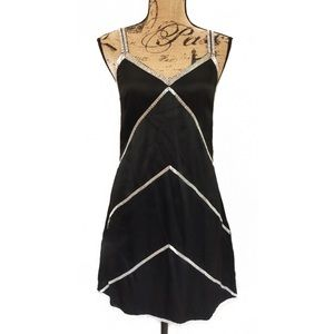 Lulu Dresses & Skirts - LULU Black Silk Silver Beaded Cami Slip Dress