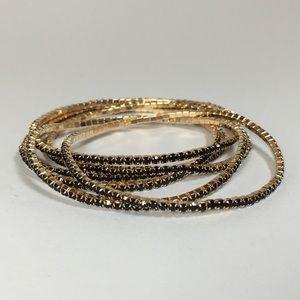 💥Myrtle 6 Bracelets - Gold with Black Crystals