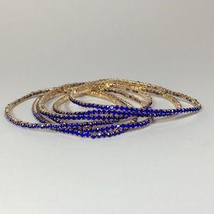 🎣Myrtle 6 Bracelets - Gold with Blue Crystals