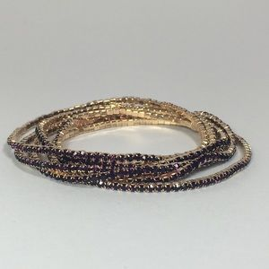 🍇Myrtle 6 Bracelets - Gold with Purple Crystals