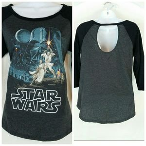 Star Wars Tops - Star wars 3/4 sleeve cut out back tshirt