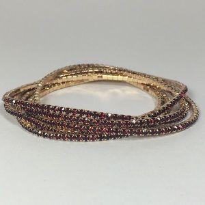 🍒Myrtle 6 Bracelets - Gold with Red Crystals