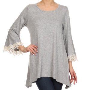 Hourglass Lady Tops - PLUS Heather Grey Bell sleeve Crochet Trim Tunic