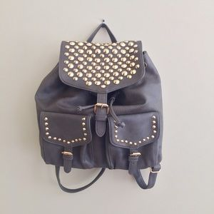 Handbags - Dusty Olive Green Gold Studded Leather Backpack