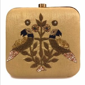 Peacock Embroidered Box Clutch with Chain