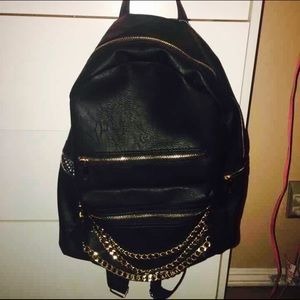 Handbags - Black and Gold Chain Backpack