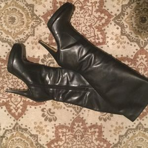 INC International Concepts Shoes - Sexy INC Black Leather Knee High Heel Boots