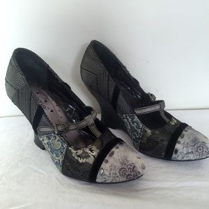 kenzie Shoes - Kenzie Patchwork Paisley Wedge Mary Jane Shoes 6