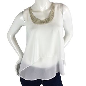Tops - Beaded Neck Layered Blouse