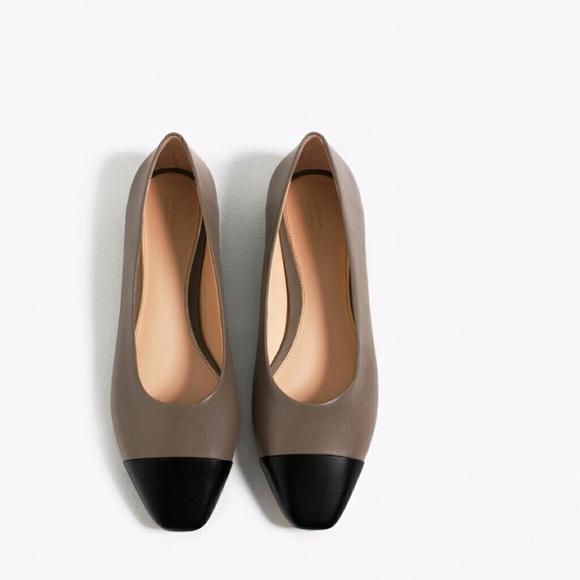 Zara 0 Leather Cap Toe Flat Shoes