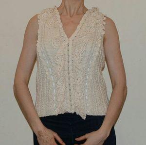 Oscar de la Renta Cream Crochet Blouse