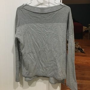 Sweet Romeo Tops - Gray and white stripped long sleeve shirt