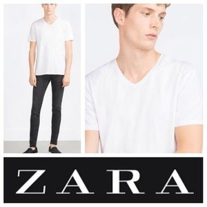 Zara Other - NEW!  Zara Super slim fit V-neck T shirt in white