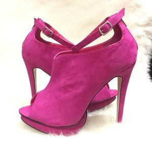 Liliana Shoes - Pink Peeptoe Heels