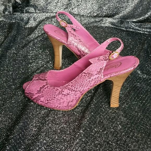 e595512508c91 Candie's Shoes | Candies Peep Toe Snake Print Purple Heels Size 9 ...