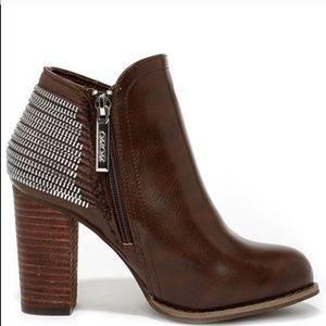 NWT Brown stacked heel booties
