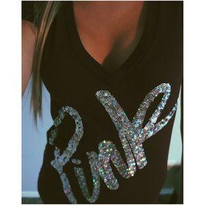 VS PINK BLING Sequins V Neck Tee Shirt