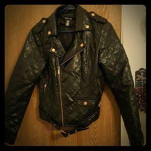 Black warm leather jacket