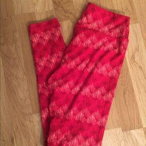 lularoe Valentine's Leggings OS White Pink Hearts