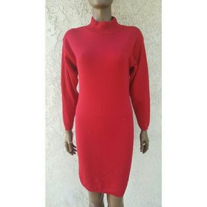 Moda International Dresses & Skirts - Red Sweater Dress with Mock Neck