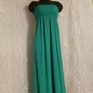 Strapless Polka Dot Maxi Dress By Timing