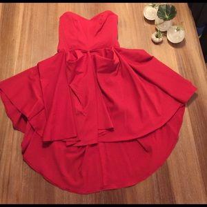 ASOS red tube ruffle puff dress 4
