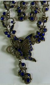 Unbranded Jewelry - Price Drop Blue Butterfly Necklace Earring Set