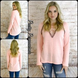 Pretty Persuasions Tops - NWT Pink Floral Lace & Beaded Long Sleeve Top