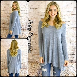 Pretty Persuasions Tops - NWT Gray Cold Shoulder Relaxed Slub Knit Top