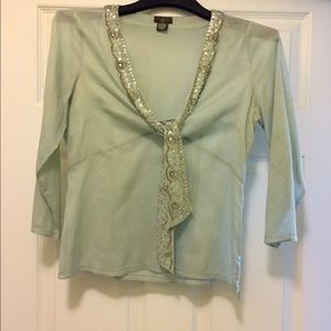 Anthropologie Tops - Anthropologie top with beaded tie at neck