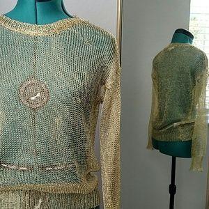 Ya Los Angeles Tops - YA Los Angeles Gold mesh long sleeve sweater, top