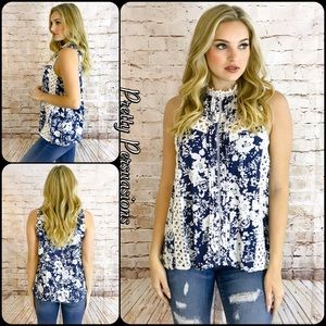 Pretty Persuasions Tops - NWT Navy Floral Printed Crochet Lace Choker Top