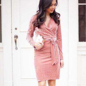 Chicwish Blush Velvet Wrap Dress