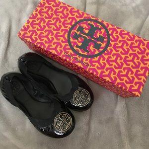 Tory Burch Shoes - Black/Gold Authentic Tory Burch Caroline Flats
