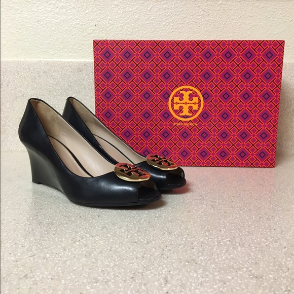 655ae514f4ea Tory Burch Shoes - Tory Burch Kara Wedge Pump Black Leather Size 6.5