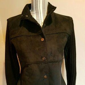 DKNY Black Snap Faux Suede & Lamb Jacket