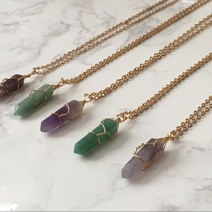 Natural Amethyst Quartz Crystal Gold Necklace