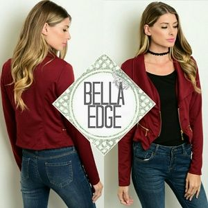 Bella Edge Jackets & Blazers - Burgundy cropped zip up moto jacket