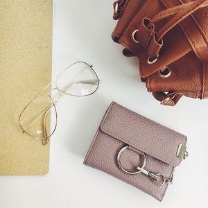 Handbags - New! Mauve O Ring Buckle Vegan Leather Wallet