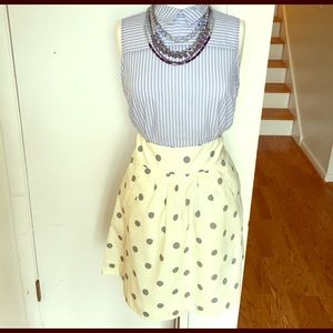 J Crew polka dot a line skirt