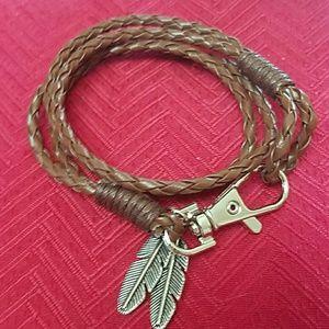 Jewelry - New brown boho feather bracelet