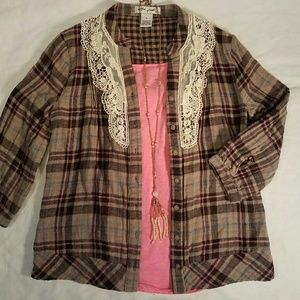 Buckle Tops - Ultra pink brown plaid w lace button up blouse. S
