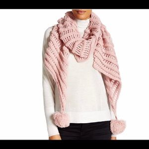 Betsey johnson scarf wrap pink pom pom knitted