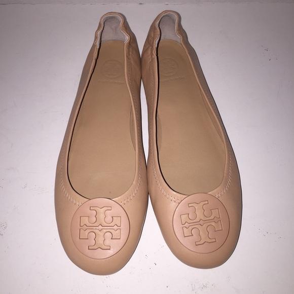 Tory Burch Oak Nude Minnie Reva Ballet Flats sz 8