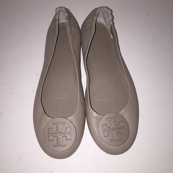 Tory Burch Grey Minnie Reva Ballet Flats sz 8