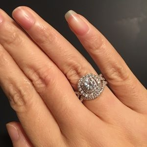 Jewelry - ❤️2pcs Real 925 silver engagement wedding ring set
